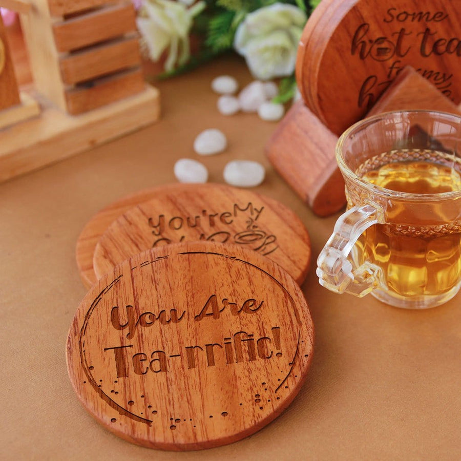 Tea Coaster Engraved With Tea Quotes. Tea Coaster Set. This Wooden Tea Coaster Set Comes with Coaster Holder & Makes Great Gifts For Tea Lovers. Buy Coasters Online At Woodgeek Store