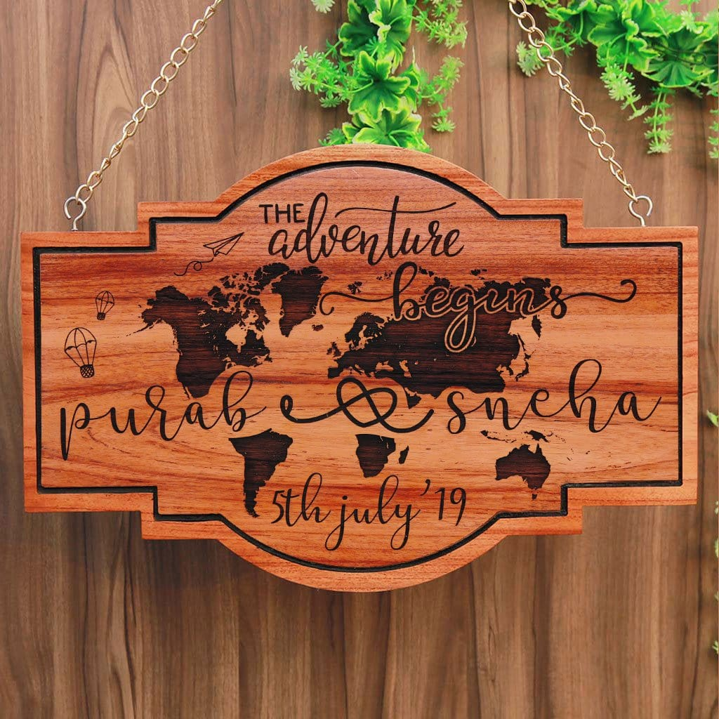 The Adventure Begins Hanging Wood Sign. These Custom Name Plates Will Make Great House Signs. This Is The Best Wedding Gift, Travel Gift, Graduation Gift and Best Personalized Gifts For Couples.