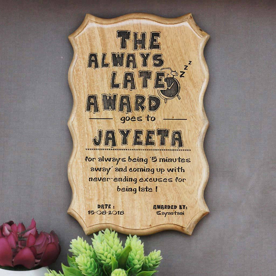 The Always Late Award Certificate - Late Kate Humorous Awards - Funny Employee Certificates - Wooden Custom Certificates by Woodgeek Store