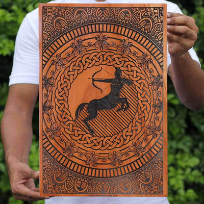 Sagittarius The Archer Carved Wooden Poster by Woodgeek Store - Zodiac Sign Wooden Artwork - Buy Wood Wall Art Decor Online
