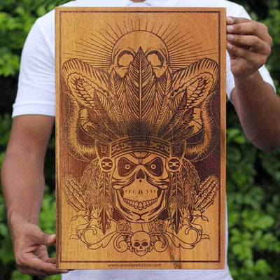 Aztec Warrior Carved Wooden Poster by Woodgeek Store - Character Art - Wooden Artwork - Aztec Skull Wood Wall Art Decor Online