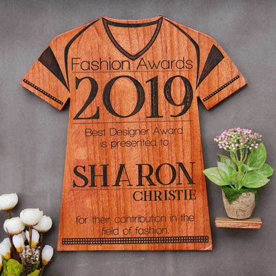 The Best Designer Wooden T-Shirt Award Plaque - This Personalized Trophy Award Makes One Of The Best Gifts For Designers - Shop More Fashion Awards Online From The Woodgeek Store.