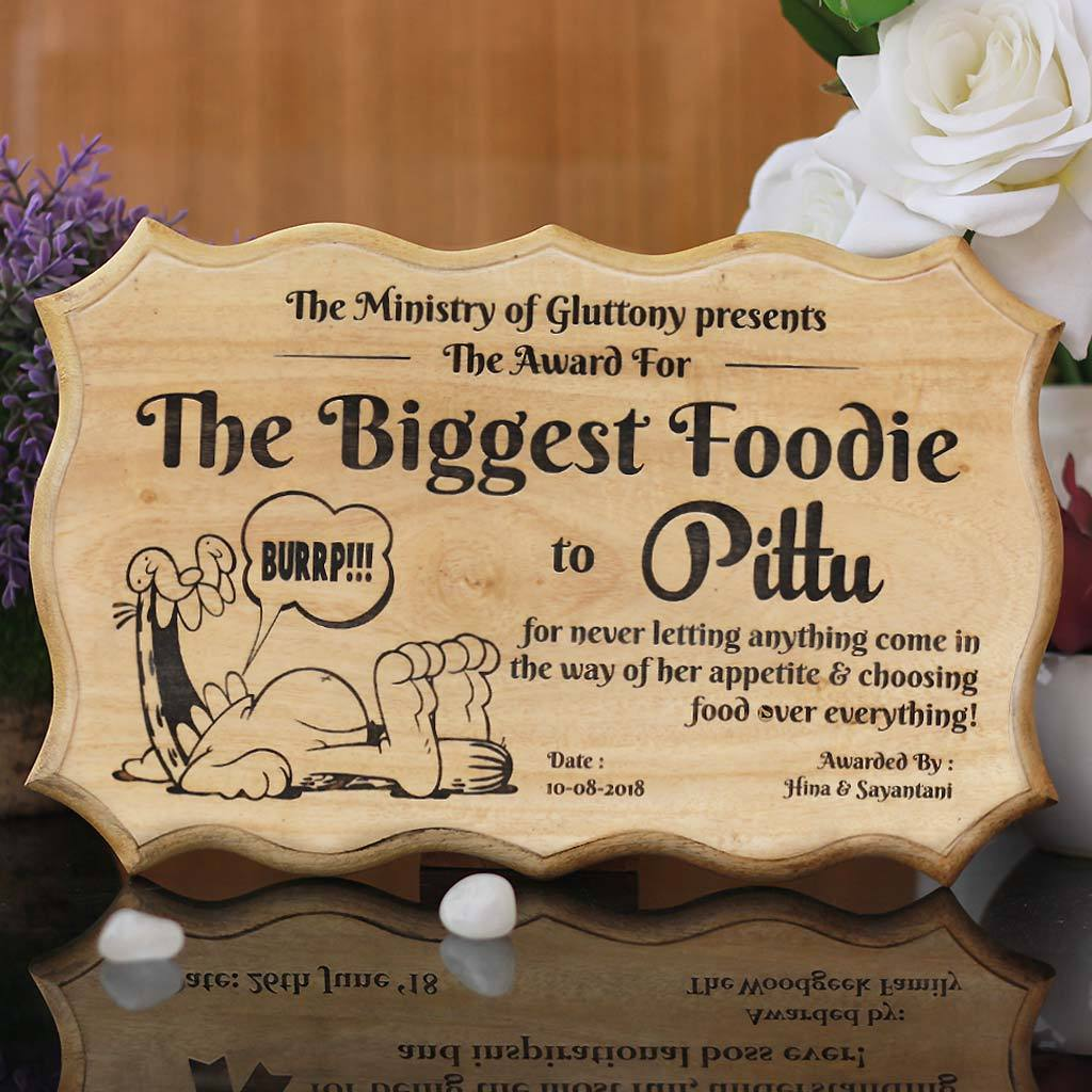 The Biggest Foodie Funny Award Certificate For Friends Humorous