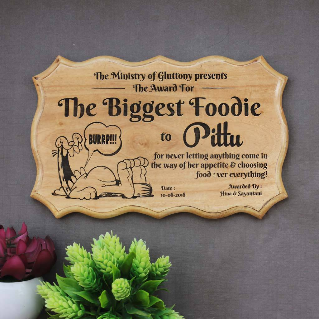 The Biggest Foodie Humorous Awards - Wooden Certificate - Funny Certificates for Friends - Funny Employee Awards - Woodgeek Store