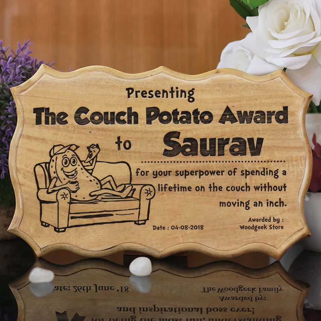 The Couch Potato Funny Award Certificates For Friends Employees