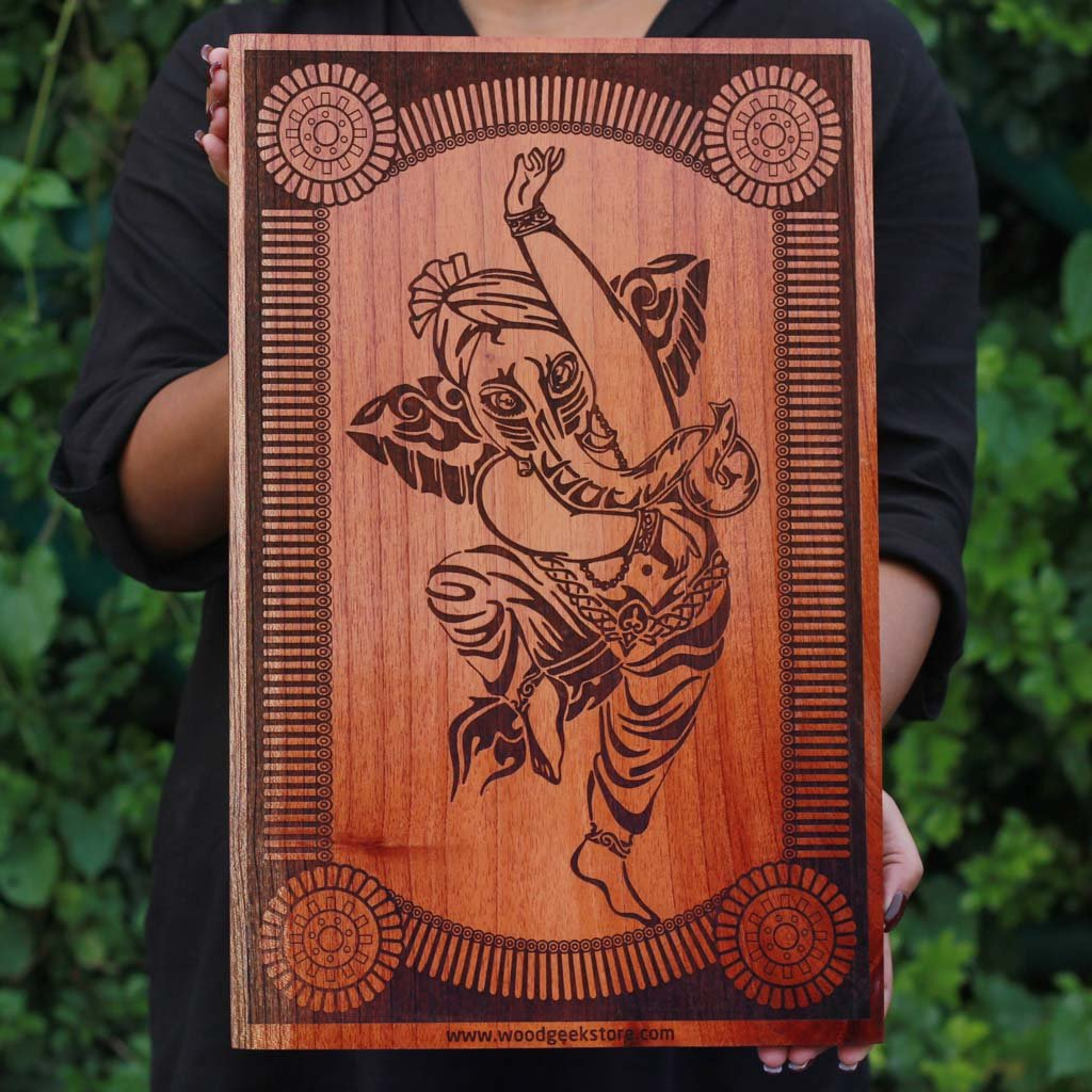 The Dancing Ganesha Carved Wooden Poster by Woodgeek Store - Hindu God Wooden Artwork - Indian & Carved Wood Wall Art | Dancing Ganesha Wood Artwork | Indian Gods ...