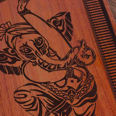 Wood engraving - The Dancing Ganesha Carved Wooden Poster by Woodgeek Store - Hindu God Wooden Artwork - Indian God Ganesh Wood Wall Hanging - Buy Wood Wall Art Decor Online