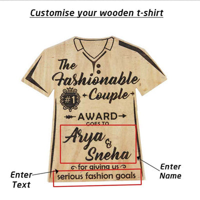 The Fashionable Couple Wooden T-Shirt Award Trophy - This Custom Engraved Wooden Plaque Makes One Of The Most Trendy Gifts For Fashion Lovers - Looking For Couple Awards ? Buy Personalized Gifts For Couples From The Woodgeek Store.