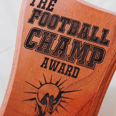 The Football Champ Wooden Football Trophy. Looking for personalised football gifts for friends? These sports trophies make special gift ideas for the football crazy friend.