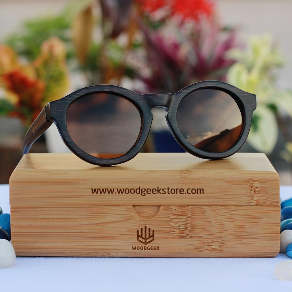 87db54c958ffd Wooden round sunglasses - Hipster charcoal bamboo - custom engraved -  woodgeekstore