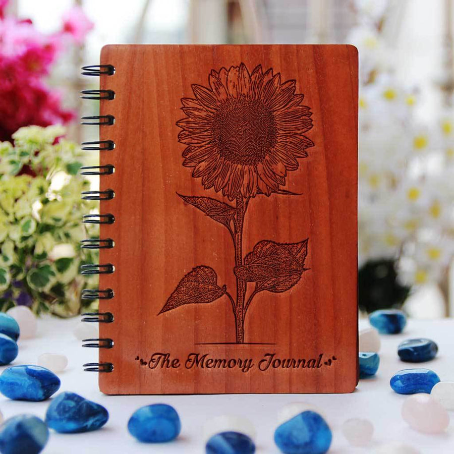 The Memory Journal Notebook Engraved With A Sunflower. This Personalised Diary For Memories Is A Great Birthday Gift, Anniversary Gifts or Gifts For Friends.