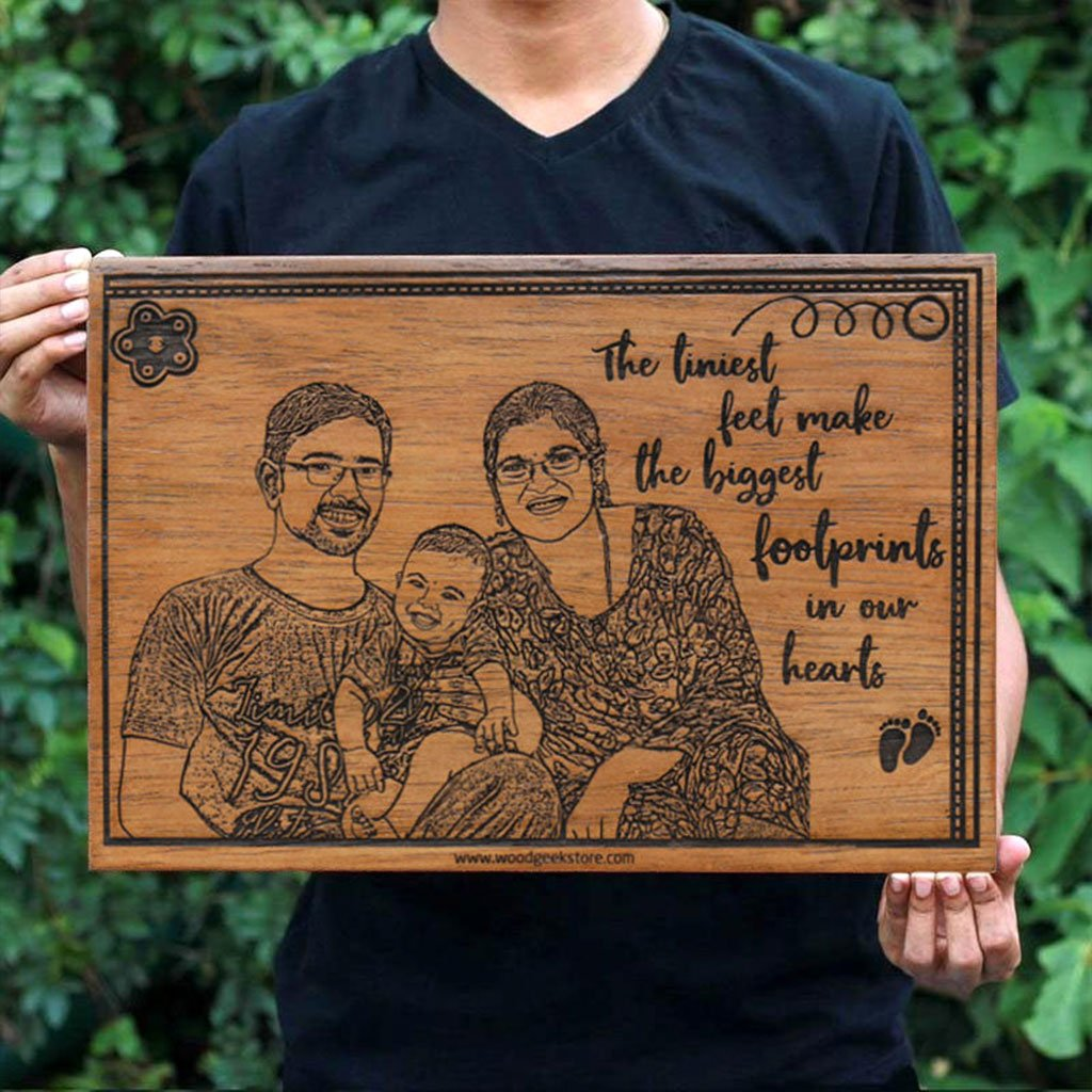 The Tiniest Feet Custom Engraved Wooden Frame