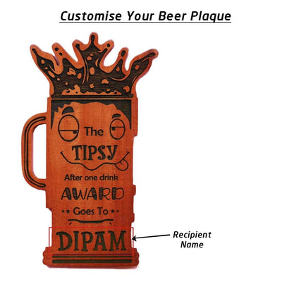 The Tipsy After One Drink Personalized Wooden Beer Glass Plaque. This Custom Trophy Makes One Of The Funniest Gifts For Friends. Looking For Unique Gift Ideas For Friends? These Funny Awards From The Woodgeek Store Make The Best Online Gifts For Friends.