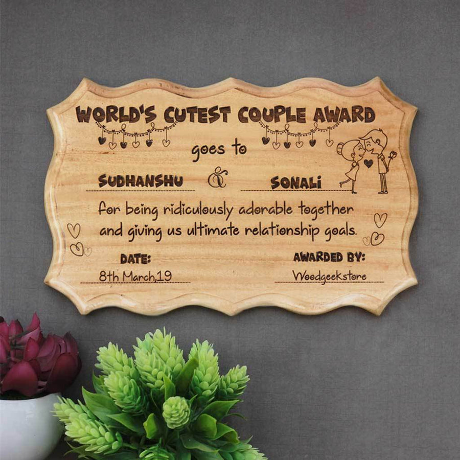 The World's Cutest Couple Award Certificate - This Personalized Award Plaque Makes Unique Gifts For Couples - Buy More Romantic Gifts For Boyfriend And Girlfriend Online From The Woodgeek Store