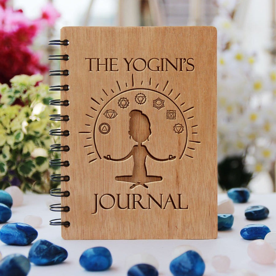 The Yogi's Journal To Document Yoga Workout. This Personalized Wooden Notebook Is The Best Fitness Journal. A Workout Diary For Yoga Lovers.