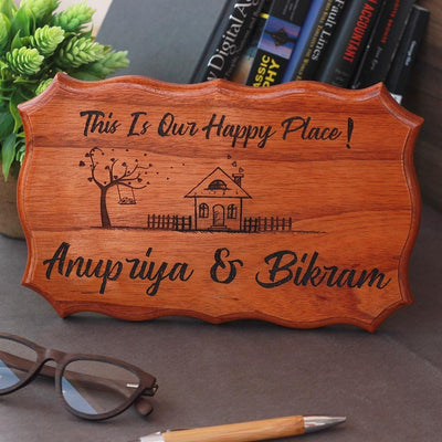 This Is Our Happy Place Custom Engraved Wood Sign - Personalized Wooden Plaques For Home - Door Nameplates For Home by Woodgeek Store