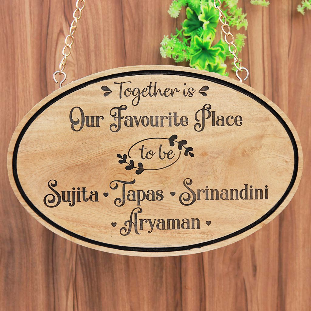 Together Is Our Favourite Place To Be Wooden Sign - Personalized Outdoor Wooden Sign - Hanging Nameplates - Personalized Hanging Wooden Name Signs - Family Wall Decor - Home Decor Ideas - Family Room Wall Decor Ideas - Family Wall Hanging - Rustic Wooden House Signs - Wood Carved Name Signs - Housewarming Gift Ideas - Woodgeek Store