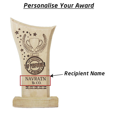 Top Performer Award & Wooden Trophy. Custom trophies make great employee appreciation gifts. Employee Recognition Awards make the best thank you gifts for the Top Performer of a company.