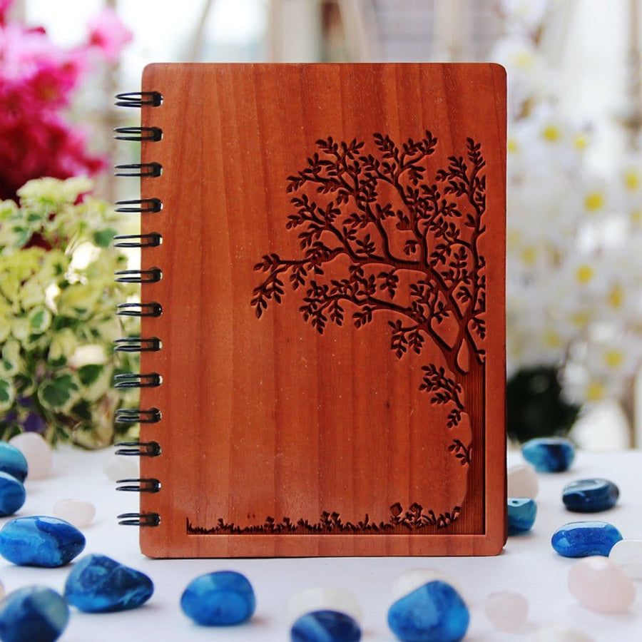 Tree Notebook - Nature Design Notebook - Minimalist Notebook Cover - Wood Bound Journal - Bamboo Spiral Notebook by Woodgeek Store