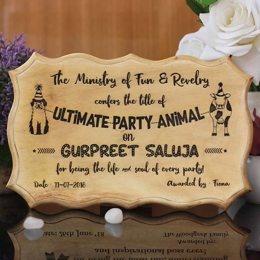 The Ultimate Party Animal Humorous Awards - Wooden Certificate - Funny Certificates for Friends - Funny Employee Awards - Woodgeek Store