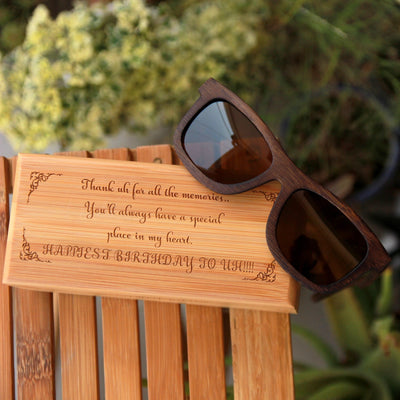 Buy Sunglasses Online. Wooden Sunglasses and Wooden Box Personalized As Birthday Gift For Husband.