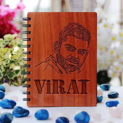 Notebook - Cricket Legends: Virat Kohli - Bamboo Wood Notebook