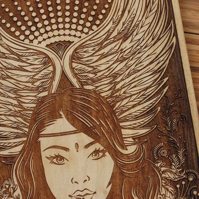 Wood engraving - Virgo The Maiden Carved Wooden Poster by Woodgeek Store - Zodiac Sign Wooden Artwork - Buy Wood Wall Art Decor Online