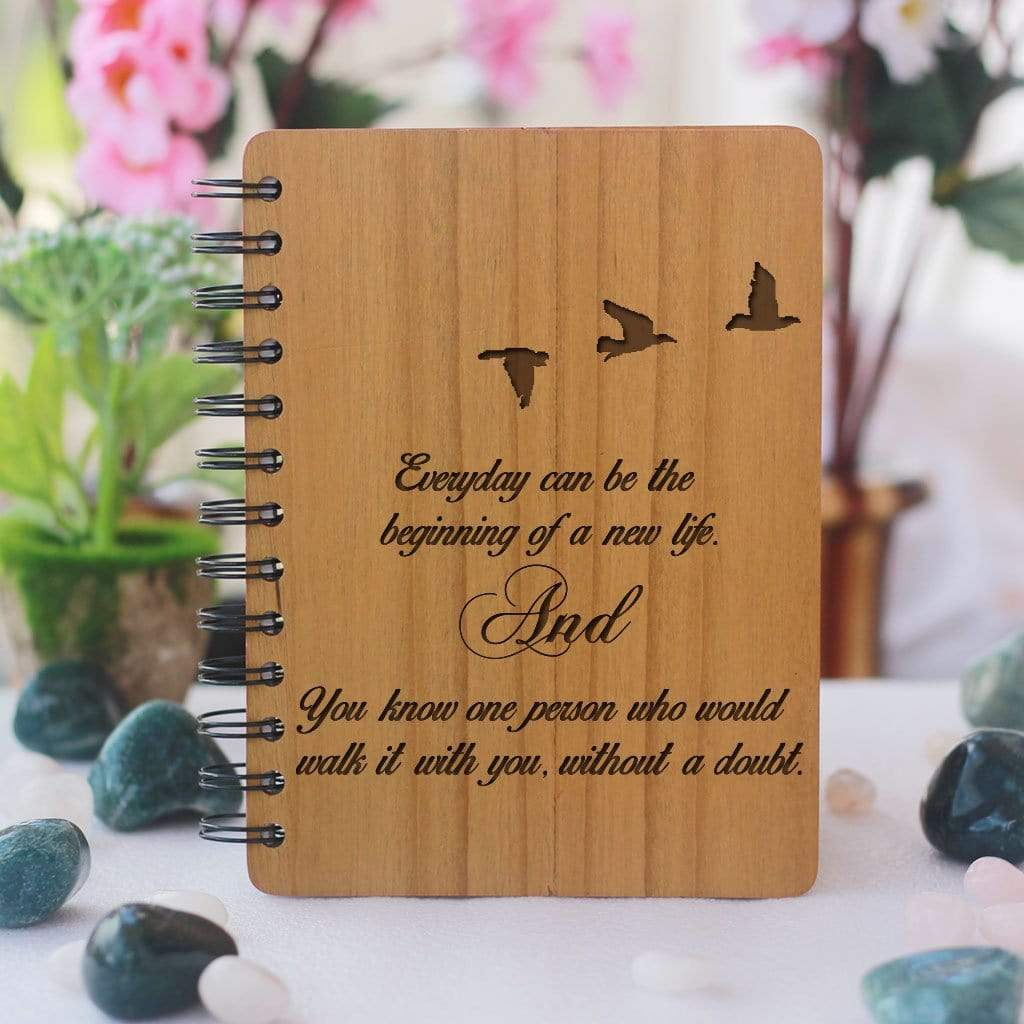Notebook - Walk With You - Bamboo Wood Notebook
