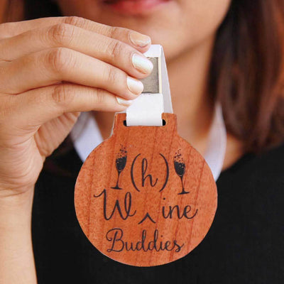 W(h)ine Buddies Medal With Ribbon - Funny Awards & Gifts for Friends - Best Gifts For Drinking Buddies