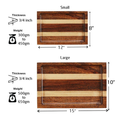 Measurement for Walnut and Birch Wooden Tray - Woodgeek Store