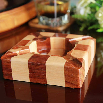 Walnut And Birch Chessboard Style Segmented Wood Ashtray. This Unique Ashtray Makes Good Gifts For Colleagues. Looking For Ashtrays For Smokers? These Custom Ashtrays Make The Best Personalized Gifts For Smokers.