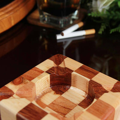 Walnut And Birch Chessboard Style Segmented Wood Ashtray. This Unique Ashtray Makes Good Gifts For Colleagues. Looking For Ashtrays For Smokers? These Custom Ashtrays Make Te Best Personalized Gifts For Smokers.