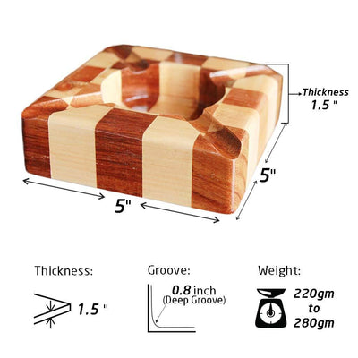 Specifications For Walnut And Birch Chessboard Style Segmented Wooden Ashtray - Woodgeek Store.