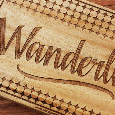 Wanderlust - Best Travel Gifts -  Wanderlust Wood Sign - Wood Wall Posters - Carved Wood Wall Decor - Woodgeek Store