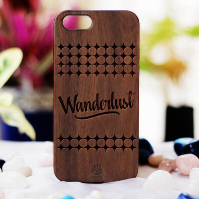 Wanderlust Wood Phone Case - Walnut Wood Phone Case - Engraved Phone Case - Travel Wood Phone Cases - Gifts for people who love to travel - Woodgeek Store