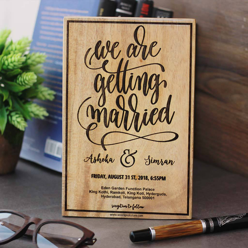 We Are Getting Married Sign - Wedding Invitation Sign - Wedding Welcome Sign - Custom Made Wood Signs - Woodgeek Store