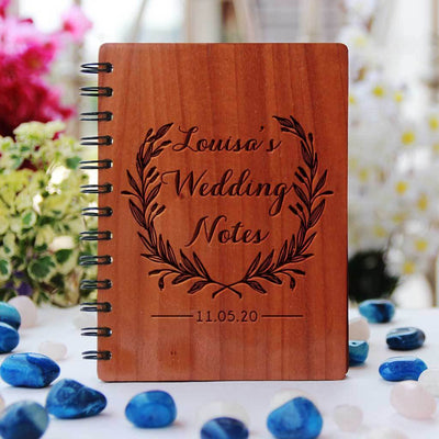 Wedding Notes Wedding Planner Book Engraved With Bride & Groom's Names and Wedding Date. A Personalized Wedding Journal & Notebook To Plan A Wedding. This Wooden Wedding Planner Notebook Is a Great Engagement Gift.