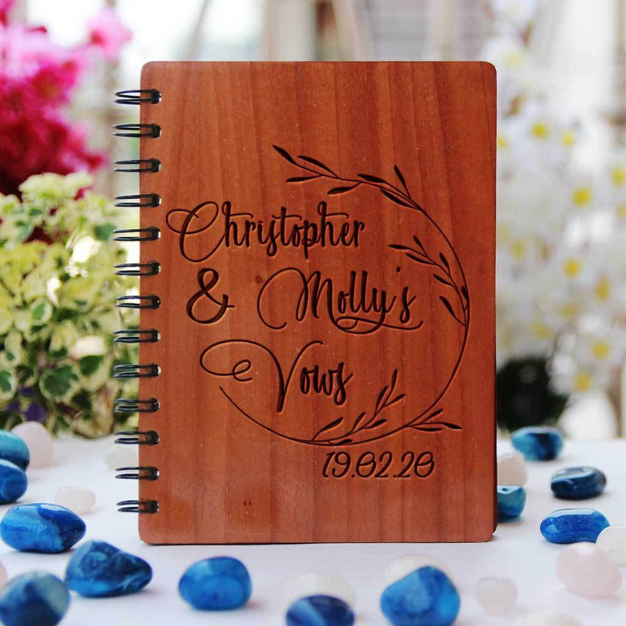 A Personalised Wedding Vow Book Engraved With Names. A Wedding Journal To Document Wedding Vow Ideas. This Wedding Vow Journal Is The Best Wedding Notebook. This Vow Journal Will Make A Great Wedding Keepsake. This Wedding Notebook Is A Great Gift For Fiancé