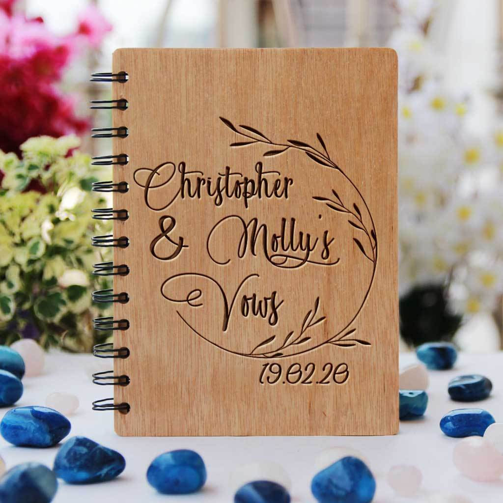 Personalised Wedding Vow Book Wooden Notebook
