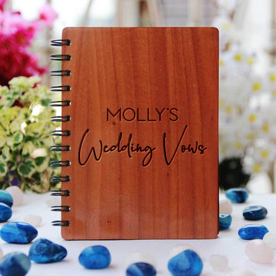 Personalised Wedding Vows Journal Engraved With Name. A Wedding Journal To Document Wedding Vow Ideas. This Wedding Vow Journal Is The Best Wedding Notebook. This Vow Journal Will Make A great Wedding Keepsake.