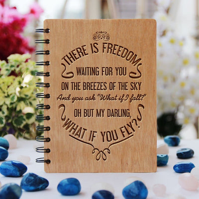 Notebook - What If I Fall? But My Darling, What If You Fly? - Bamboo Wood Notebook