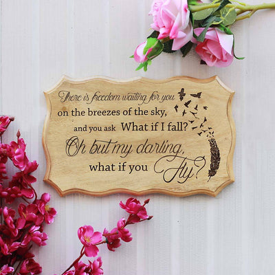 What if I Fall? Oh but my darling what if you fly - Wooden Signs With Sayings - InspirationalWood Signs by Woodgeek Store