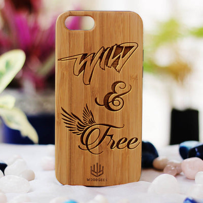 Wild & Free Wooden Phone Case from Woodgeek Store - Bamboo Phone Case - Engraved Phone Case - Wooden Phone Covers - Custom Wood Phone Case - Bohemian & Hippie Phone Cases