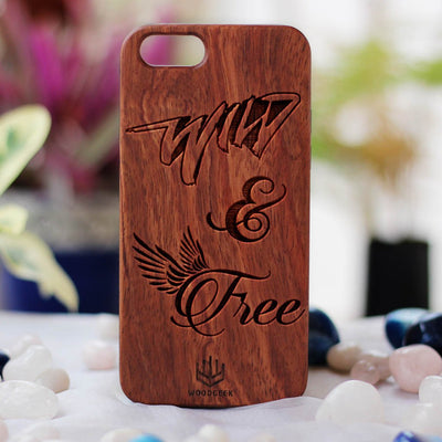 Wild & Free Wooden Phone Case from Woodgeek Store - Rosewood Phone Case - Engraved Phone Case - Wooden Phone Covers - Custom Wood Phone Case - Bohemian & Hippie Phone Cases
