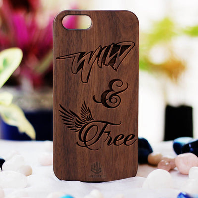 Wild & Free Wooden Phone Case from Woodgeek Store - Walnut Wood Phone Case - Engraved Phone Case - Wooden Phone Covers - Custom Wood Phone Case - Bohemian & Hippie Phone Cases