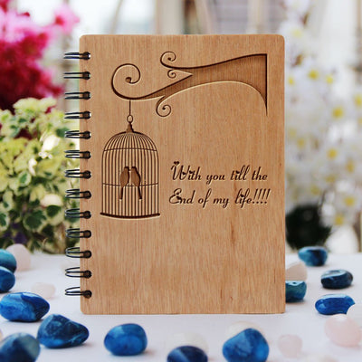 Love Notebook - Gifts For Boyfriend & Girlfriend -Bamboo Wood Notebook - With You Till The End Of My Life - Bamboo Wood Notebook