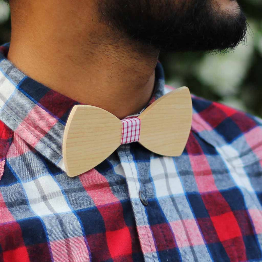 Bow Ties - The Sherpa - White Wooden Bow Tie - Blue plaid
