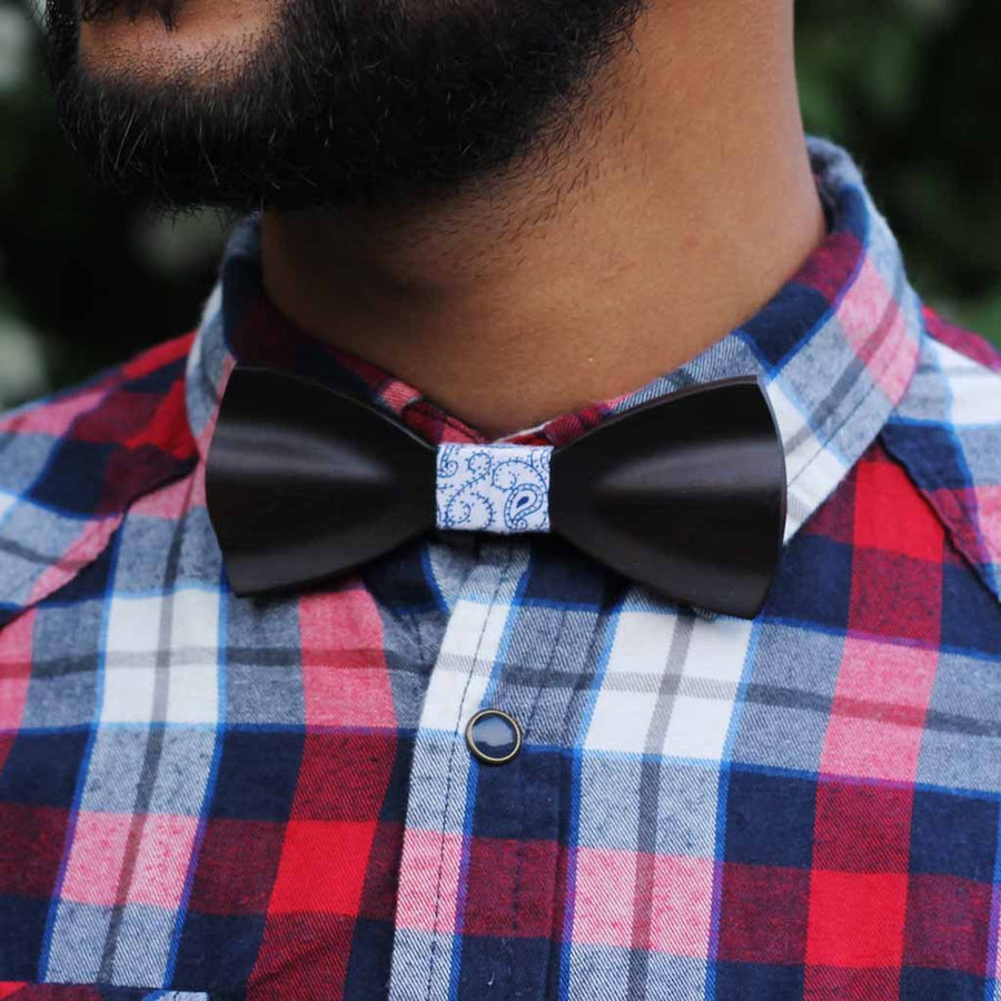 Bow Ties - The Fernandes - Black Wooden Bow Tie - gingham