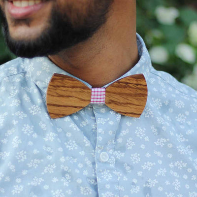 Bow Ties - The Sodhi - Brown Wooden Bow Tie - Red Plaid