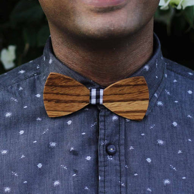 Bow Ties - The Sodhi - Brown Wooden Bow Tie - Gingham